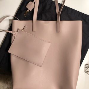 AUTHENTIC SAINT LAURENT PINK LEATHER TOTE BAG